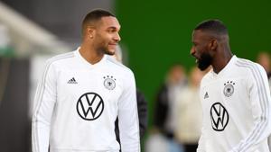 Germany's Antonio Rudiger and Jonathan Tah during training.(REUTERS)