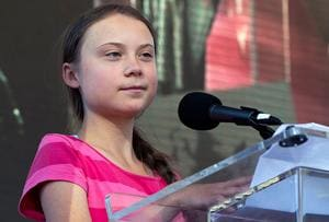 Swedish teenage climate activist Greta Thunberg speaks as she takes part during the Climate Strike, in New York.(AP Photo)