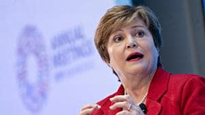 Kristalina Georgieva, managing director of the International Monetary Fund (IMF), speaks during a discussion in Washington on October 8.(Bloomberg)