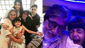 Amitabh Bachchan with Aishwarya Rai, Jaya Bachchan, Aaradhya and Agastya Nanda.