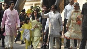 Abhishek Bachchan, Aaradhya, Aishwarya Rai, Amitabh Bachchan and Jaya Bachchan outside their residence on Friday.(Varinder Chawla)