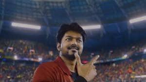 Vijay, in a still from the Bigil trailer.