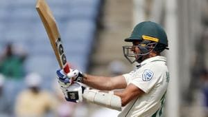 South African cricketer Keshav Maharaj bats during the third day of the second test match.(AP)