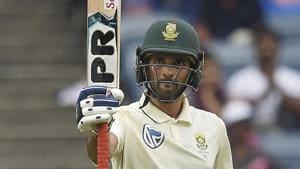 Pune: South Africa cricket team player Keshav Maharaj celebrates his half century.(PTI)