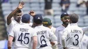 Pune: Indian cricket team players celebrate the dismissal of Quinton de Kock.(PTI)