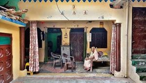 Phoolwati Devi , the grandmother of Ashwini Kashyap, at her residence in Bijnor.(HT image)