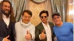 Shah Rukh Khan with actors Jason Momoa, Jackie Chan and Jean-Claude van Damme in Riyadh.(Instagram)