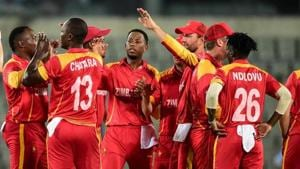 File image of players of Zimbabwe Cricket Team celebrating the fall of a wicket.(Getty Image)