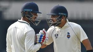 File image of Delhi cricketers Nitish Rana and Dhruv Shorey.(PTI)