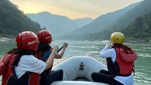 Twinkle Khanna off to the hills for a rafting session with besties. See pic