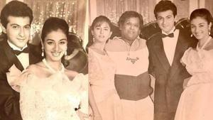 Sanjay Kapoor with Tabu, Sunita Dhingra and Satish Kaushik on the sets of his debut film Prem.