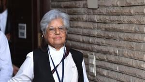 Senior advocate Indira Jaising comes out of her residence after CBI conducted raids in her residence and office in connection with a foreign funding case, July, 2019.(Sanchit Khanna/HT File)