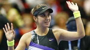 Belinda Bencic of Switzerland celebrates her victory over Anastasia Pavlyuchenkova of Russia.(AP)
