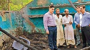 Officials inspect the site of an unprovoked Pakistani shelling along the International Border (IB) during which a civilian was injured, in Kathua district of Jammu and Kashmir on Sunday.(Photo: PTI)