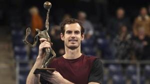 Andy Murray of Britain poses with the trophy after winning the European Open final.(AP)