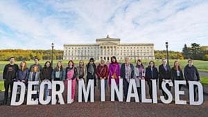 Pro-choice activists take part in a photo call in the grounds of Stormont Parliament, Belfast, October 21, 2019(AP)