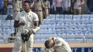 South African players react after losing a match and Test series against India.(PTI)