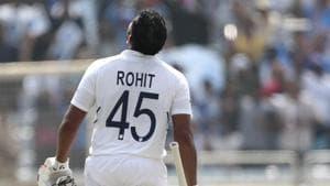 India's Rohit Sharma looks skywards to celebrate scoring double century.(AP)