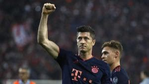 Bayern's Robert Lewandowski celebrates(AP)