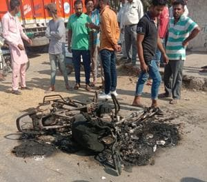 The damaged PCR motorcycle after the clash at grain market in Rajpura on Wednesday.(HT PHOTO)
