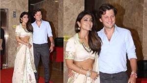 Shriya Saran with husband Andrei Koscheev at Ramesh Taurani's party in Mumbai on Wednesday.