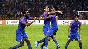 File image of players of Indian football team celebrating after scoring a goal.(PTI)