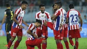 Roy Krishna of ATK celebrates the goal with team players.(ISL)
