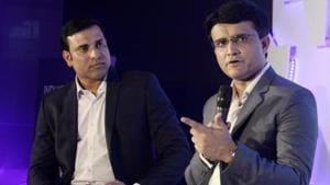 V.V.S Laxman along with Sourav Ganguly during the discussion.(LightRocket via Getty Images)