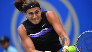 Aryna Sabalenka of Belarus hits a return against Alison Riske of the US.(AFP)