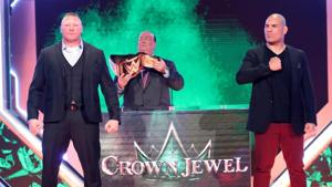 Brock Lesnar and Cain Velasquez face off before Crown Jewel.(WWE)