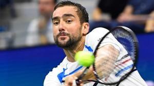 Marin Cilic of Croatia hits to Rafael Nadal of Spain.(USA TODAY Sports)