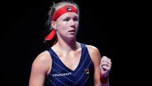 Kiki Bertens reacts during her match against Australia's Ashleigh Barty.(REUTERS)