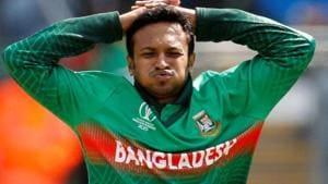 Bangladesh's Shakib Al Hasan reacts.(Action Images via Reuters)