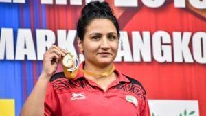 Indian boxer Pooja Rani (81kg)(PTI)