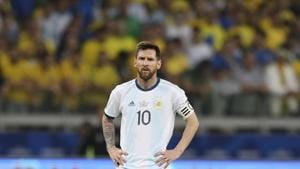 Argentina's Lionel Messi during a Copa America semifinal match against Brazil at the Mineirao stadium in Belo Horizonte.(AP)