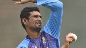 New Delhi: Bangladesh T20 cricket captain Mahmudullah Riyad during a practice session.(PTI)