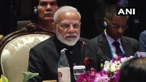 Prime Minister Narendra Modi in his opening address at the India-ASEAN summit in Bangkok.(ANI)