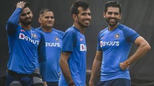 Yuzvendra Chahal, Deepak Chahal and Shreyas Iyer during a practice session.(PTI)