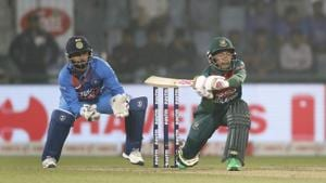 Mustafiqur Rahim plays a shot against India during the first T20 match at the Arun Jaitley stadium.(AP)