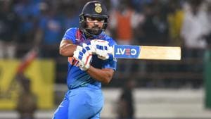 Rajkot: India's stand-in captain Rohit Sharma plays a shot.(PTI)