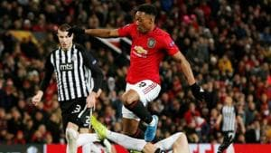 Europa League - Group L - Manchester United v Partizan Belgrade - Old Trafford, Manchester, Britain - November 7, 2019 Manchester United's Anthony Martial in action with Partizan Belgrade's Zoran Tosic(REUTERS)