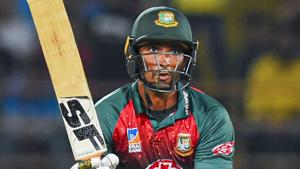 Rajkot: Bangladeshi captain Mahmudullah plays a shot during the second T20I(PTI)
