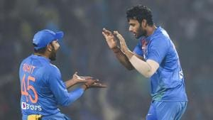 Indian players Rohit Sharma and Shivam Dube celebrate the dismissal of Bangladesh's Mushfiqur Rahim(PTI)