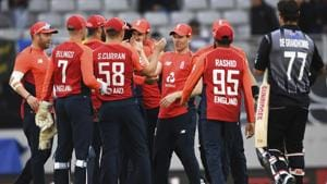 England players celebrate after winning the super over and the match against New Zealand during their T20 cricket match at Eden Park, Auckland, New Zealand, Sunday, Nov. 10, 2019.(AP)