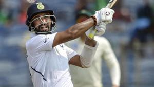 Cheteshwar Pujara plays a shot.(PTI)