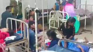 Around 90 women workers, many of whom were minors, fell ill after inhaling chlorine gas which had reportedly leaked from one of the units of a leading prawn processing plant in the coastal Balasore district of Odisha.(ANI/Twitter)