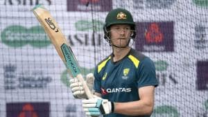 Australia's Cameron Bancroft bats during a nets session before the 4th Ashes Test cricket match between England and Australia at Old Trafford cricket ground in Manchester, England, Tuesday, Sept. 3, 2019. (AP Photo/Jon Super)(AP)