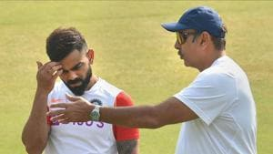Indore: Indian cricket captain Virat Kohli talks with Head Coach Ravi Shastri during a practice session on the eve of first Test match against Bangladesh, in Indore, Wednesday, Nov 13, 2019.(PTI)