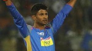 Gowtham Krishnappa of the Rajasthan Royals celebrates the wicket of Chris Lynn.(IPL)