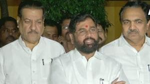 Shiv Sena leader Eknath Shinde told the media after a joint meeting on Thursday that the final decision on the draft CMP will be taken by the leadership of the three parties.(ANI PHOTO.)